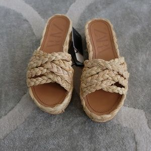 Zara Platform Jute Sandals NWT
